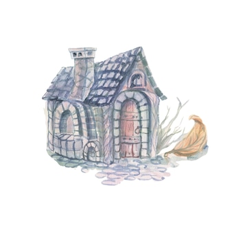 Maison aquarelle et fleurs illustration dessinée à la main