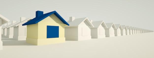 Maison bleue parmi les maisons blanches. concept de chasse et de recherche. rendu 3d, image panoramique