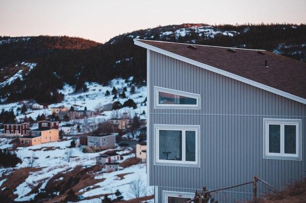 Maison en bois blanche et brune près des arbres verts pendant la journée