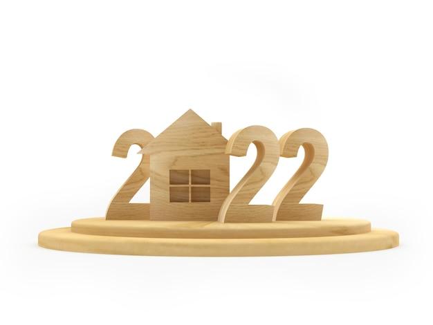 Maison en bois avec le numéro du nouvel an
