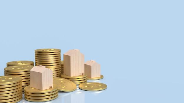 La maison en bois sur des pièces d'or pour le rendu 3d de contenu de propriété