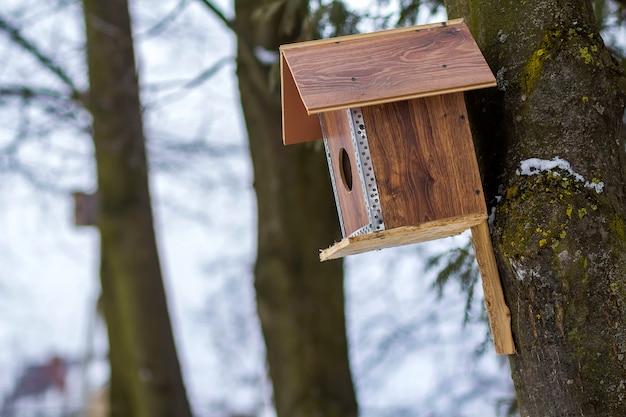 Une maison en bois pour les oiseaux sur l'arbre dans la forêt.