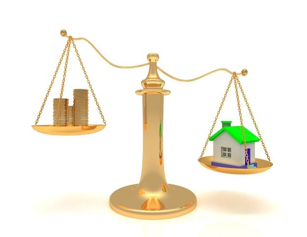 Maison et caisse sur balance.