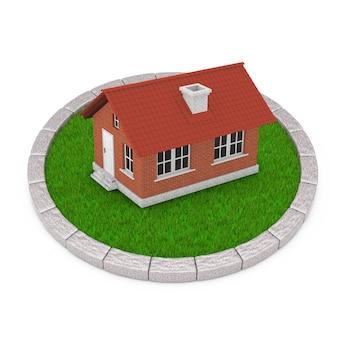 Maison de campagne moderne avec toit rouge sur un terrain rond d'herbe verte dense sur fond blanc. rendu 3d