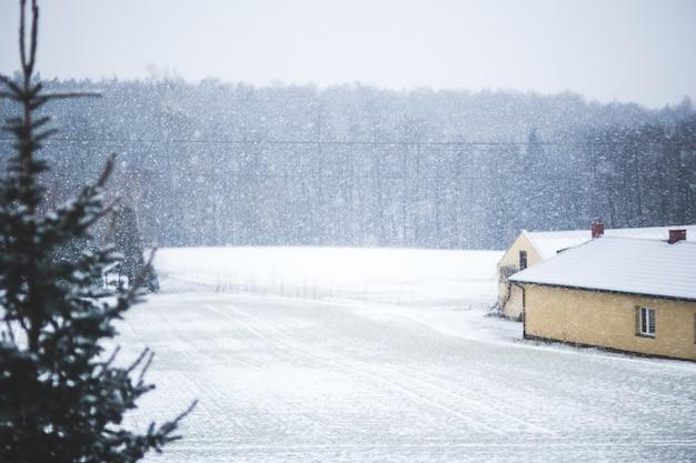 Maison et champ neigeux