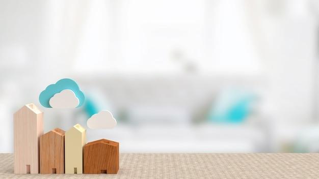 La maison et le cloud pour le rendu 3d du concept de technologie de maison intelligente