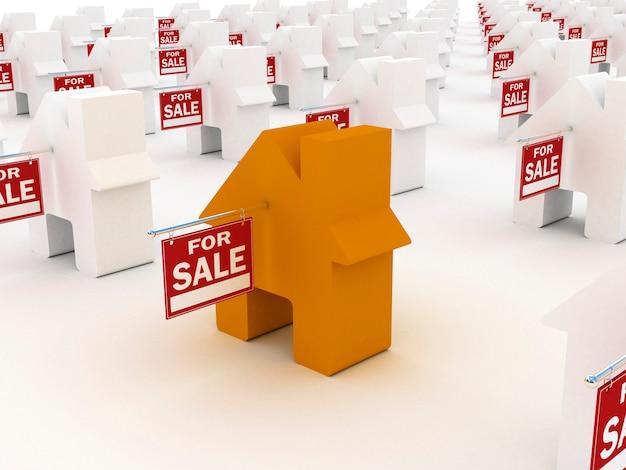 Maison colorée à vendre, rendu 3d