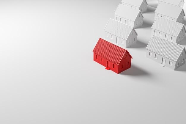 Maison confortable rouge devant un groupe de maisons blanches sur fond blanc. concept d'investissement immobilier. vue latérale avec copie cpace. illustration de rendu 3d.