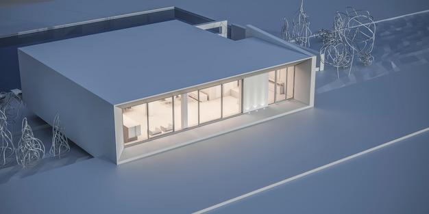 Maison dans un style minimaliste. salle d'exposition. rendu 3d.