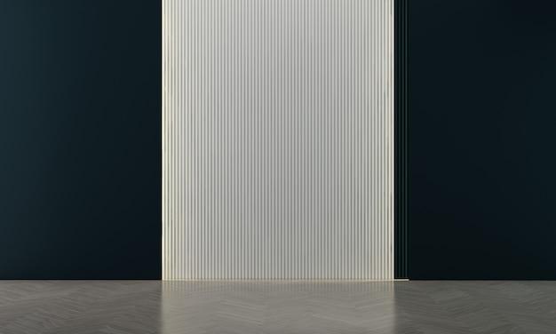 Maison et décoration modernes et confortables et design d'intérieur de salon vide et fond de mur bleu vide