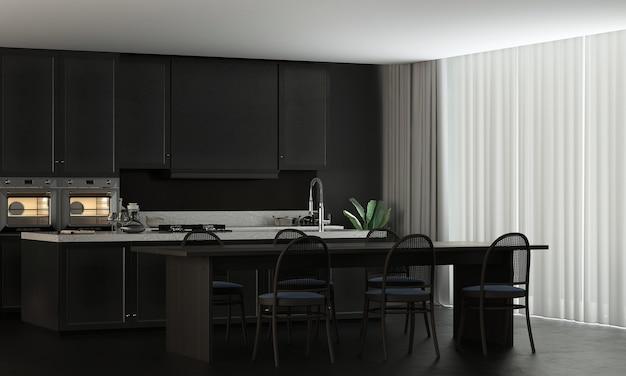 La maison et la décoration modernes se moquent des meubles et de l'aménagement intérieur de la salle à manger et de la cuisine confortables et du rendu 3d de fond de texture de mur noir