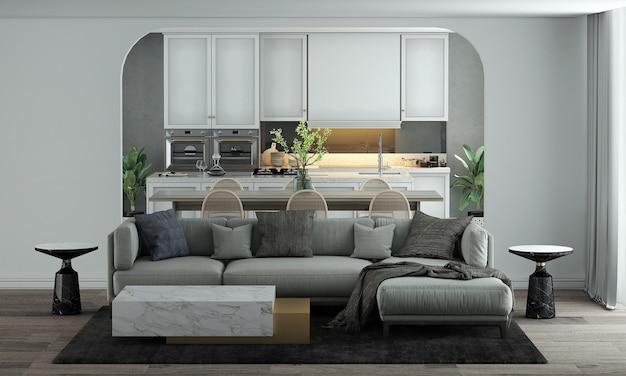 La maison et la décoration modernes simulent des meubles et la décoration intérieure du salon, de la salle à manger et du garde-manger et le rendu 3d de fond de texture de mur blanc