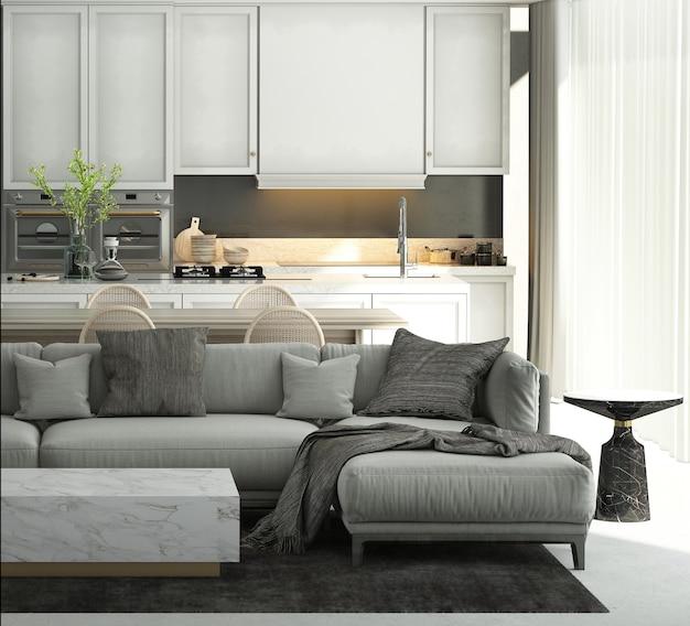 La maison et la décoration modernes simulent des meubles et un design d'intérieur d'un beau salon, d'une salle à manger et d'un garde-manger et d'un fond de texture de mur blanc rendu 3d