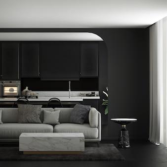 La maison et la décoration modernes simulent des meubles et un design d'intérieur de salon confortable et salle à manger et garde-manger et fond de texture de mur noir rendu 3d