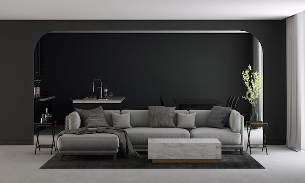 La maison et la décoration modernes simulent des meubles et un design d'intérieur de salon noir et salle à manger et garde-manger et fond de texture de mur noir rendu 3d