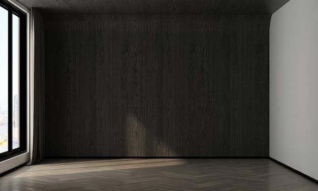 La maison et la décoration se moquent des meubles et de la décoration intérieure du salon vide et du fond de texture de mur en bois rendu 3d