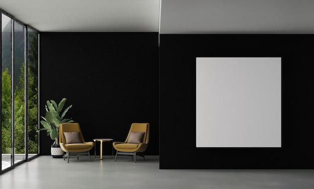 La maison et la décoration simulent les meubles et la décoration intérieure du salon moderne et de la toile de cadre vide sur la texture du mur noir et le rendu 3d de l'arrière-plan de la vue sur la forêt