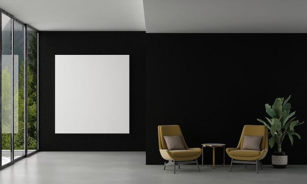 La maison et la décoration simulent les meubles et la décoration intérieure du salon et la toile de cadre vide sur la texture du mur noir et le rendu 3d de l'arrière-plan de la vue sur la forêt