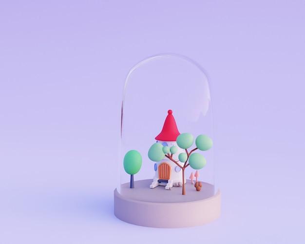 Maison de dessin animé mignon avec un jardin dans une illustration de rendu 3d dôme de verre