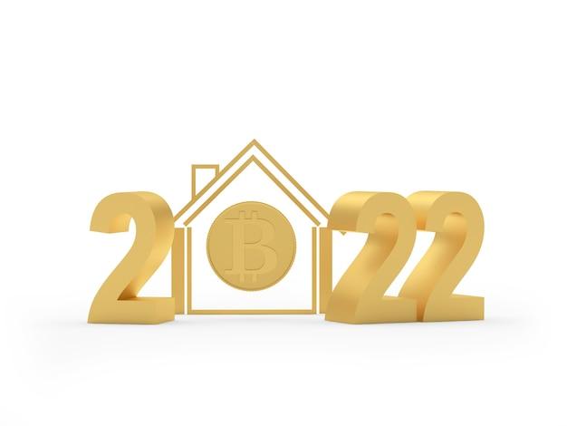 Maison dorée avec icône bitcoin et numéro du nouvel an