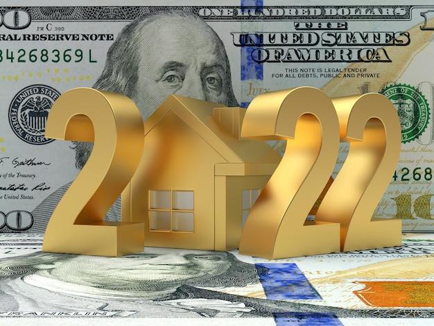 Maison dorée avec le numéro du nouvel an sur un billet d'un dollar