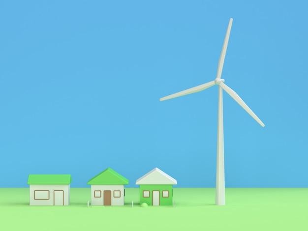 Maison éolienne rendu 3d, environnement d'énergie renouvelable sauver le concept de la terre