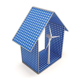 Maison fabriquée à partir de panneaux solaires avec éolienne