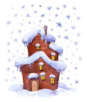 Maison de fantaisie d'hiver aquarelle