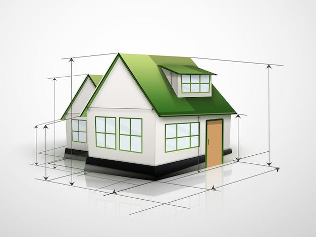 Maison avec lignes de mesure sur fond clair