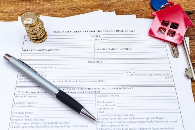 Maison maison propriété achat immobilier achat contrat de vente accord avec stylo