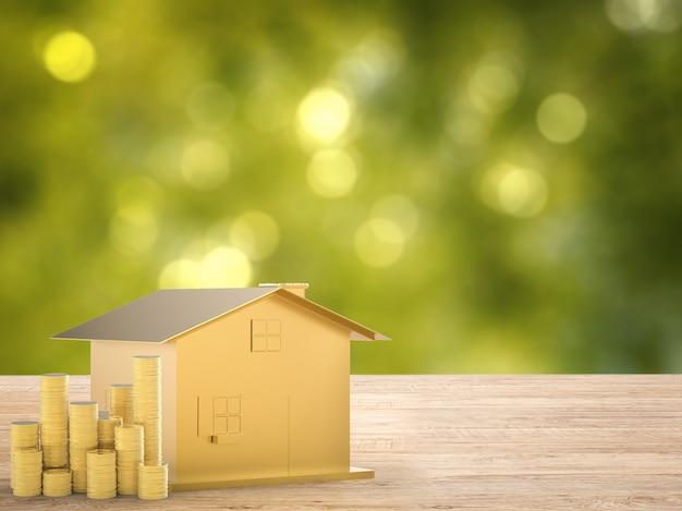 Maison maquette dorée avec des pièces d'or