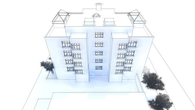 Maison moderne 3d sur fond blanc illustration 3d