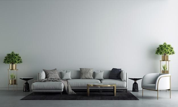 La maison moderne et la décoration simulent des meubles et un design d'intérieur d'un salon confortable et un fond de texture de mur blanc rendu 3d