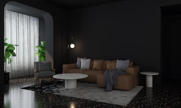 La maison moderne et la décoration simulent des meubles et un design d'intérieur d'un salon confortable et un fond de texture de mur noir vide rendu 3d