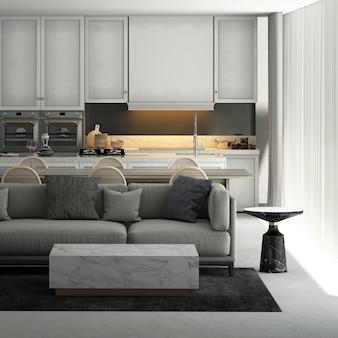 La maison moderne et la décoration simulent des meubles et un design d'intérieur d'un salon confortable, d'une salle à manger et d'un garde-manger et d'un fond de texture de mur blanc rendu 3d