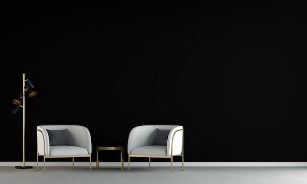 La maison moderne et la décoration simulent des meubles et un design d'intérieur d'un salon minimal et d'un fond de texture de mur noir rendu 3d