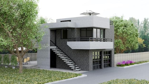 Maison moderne avec jardin et garage. rendu 3d.