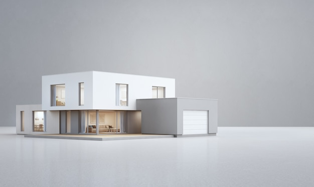 Maison moderne sur le sol blanc avec fond de mur en béton vide.