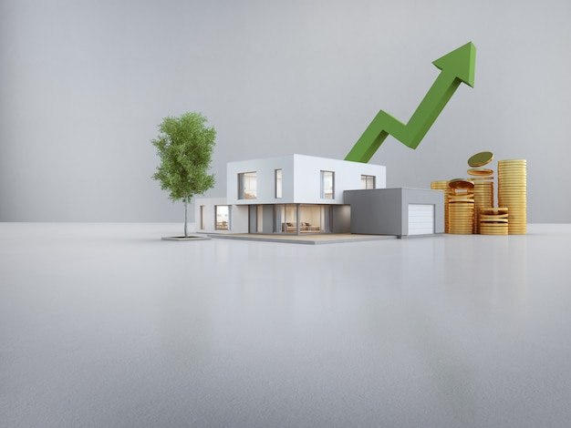 Maison moderne sur sol blanc avec mur de béton vide dans le concept de vente ou d'investissement immobilier.
