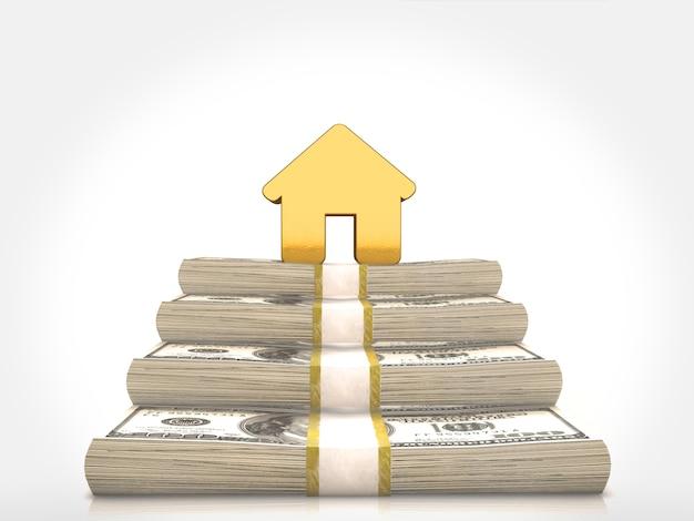 Une maison en or sur des piles d'argent