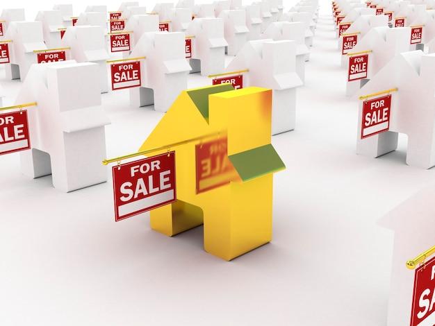 Maison d'or à vendre, rendu 3d