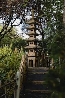Maison pagode marron et blanc