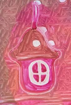 Maison de pain d'épice rouge dessinée à la main sur un fond festif rouge, décoration, dessin aquarelle mignon