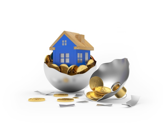Maison avec des pièces de monnaie dans une boule de noël cassée en argent