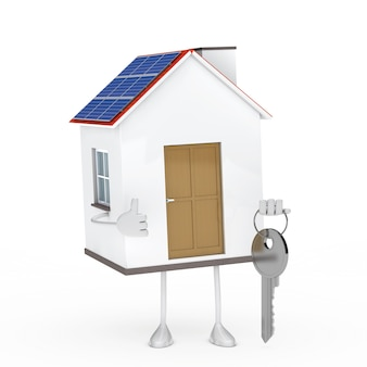 Maison positive tenant une clé