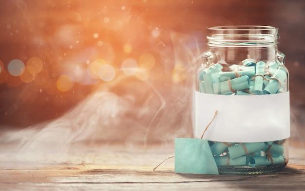 Maison de rêve pot en verre plein voeux chéris