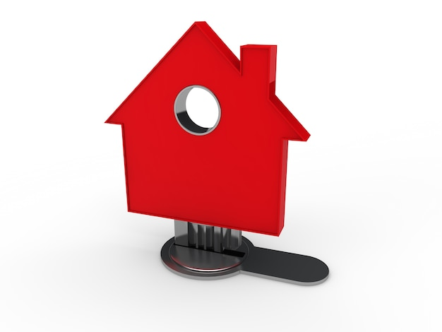 Maison rouge en forme de clé dans une serrure