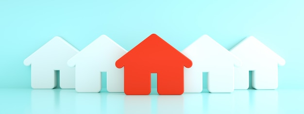 Maison rouge parmi les maisons blanches, concept de chasse et de recherche, rendu 3d, image panoramique