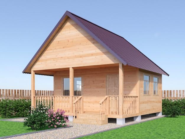 Maison de village en bois ou sauna à l'extérieur du jardin. illustration de rendu 3d.