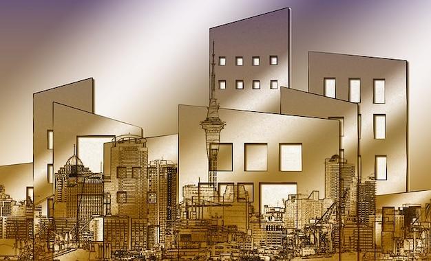 Maison ville architecture fenêtre de scène de la maison de collage